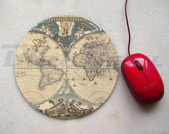 World Map Mousepad, Office Mousepad, Computer Mouse Pad, Fabric Mousepad