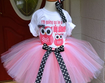 Big Sister Peachy Pink Owl Tutu Skirt and Printed Tee with Matching Hair Bow for Baby Showers Birthdays, Pageants, Photos