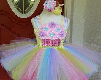 Cupcake Birthday Tutu, Extra Fluffy in Pastel Colors