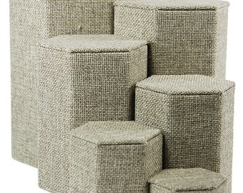 "Burlap Stackable Riser Set of 6 from 1-1/4"" to 6-1/4"" high  (DIS3513)"
