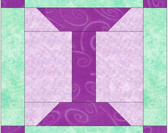 Letter I Paper Piece Foundation Quilting Block Pattern