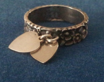 Vintage Sterling Repousse Floral Ring with Heart Charms, Sweetheart Ring Size 8