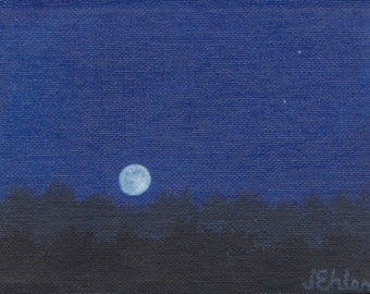 "7x5"" 'Moonrise' miniature oil painting"