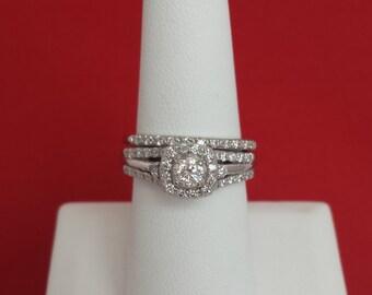Platinum and Diamond Halo Wedding Set~!!! - EB216