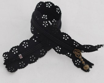 25cm Lace Zipper  - BLACK