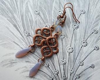 Nouveau Dawn Vintage Inspired Handmade Earrings Art Nouveau Celtic Style Antique Copper and Lilac Opalescent  Pierced or Clip