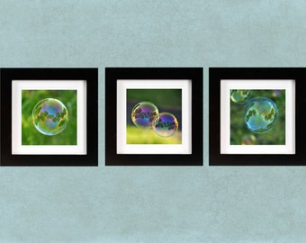 Bubbles: summer, whimsical, bubble, swirl,fantasy, green, purple, childrens room, nursery decor, wall art, print set