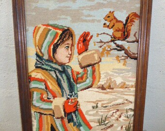 The child and the squirrel, embroidered finished tapestry, vintage 1970s STORYLINES