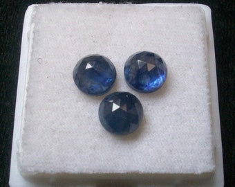 8 mm round NATURAL genuine blue SAPPHIRE AAA quality top rose cut  gemstone.....