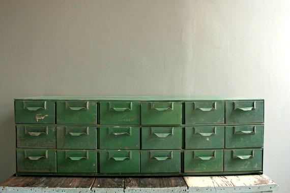 Vintage Card Catalog, 18 Drawer File Cabinet, Industrial Card Catalog,  Metal Library Cabinet