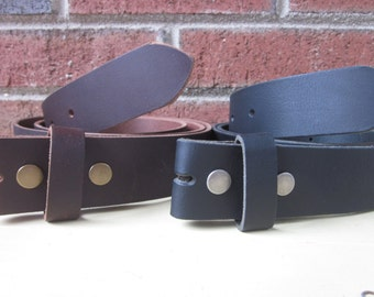 Size XX-Large (46 inches) Full grain soft  buffalo leather belt strap 1.5 inches wide black or brown snap belt strap 1.5""