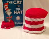Crochet Cat in the Hat Set - Top Hat and Bow Tie - Photo Prop - Costume - Dr. Seuss