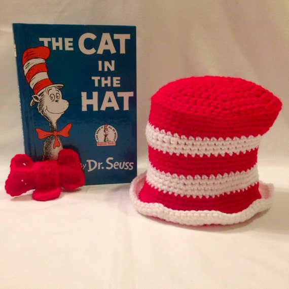 Crochet Cat in the Hat Set Top Hat and Bow Tie by PuffsnStuff