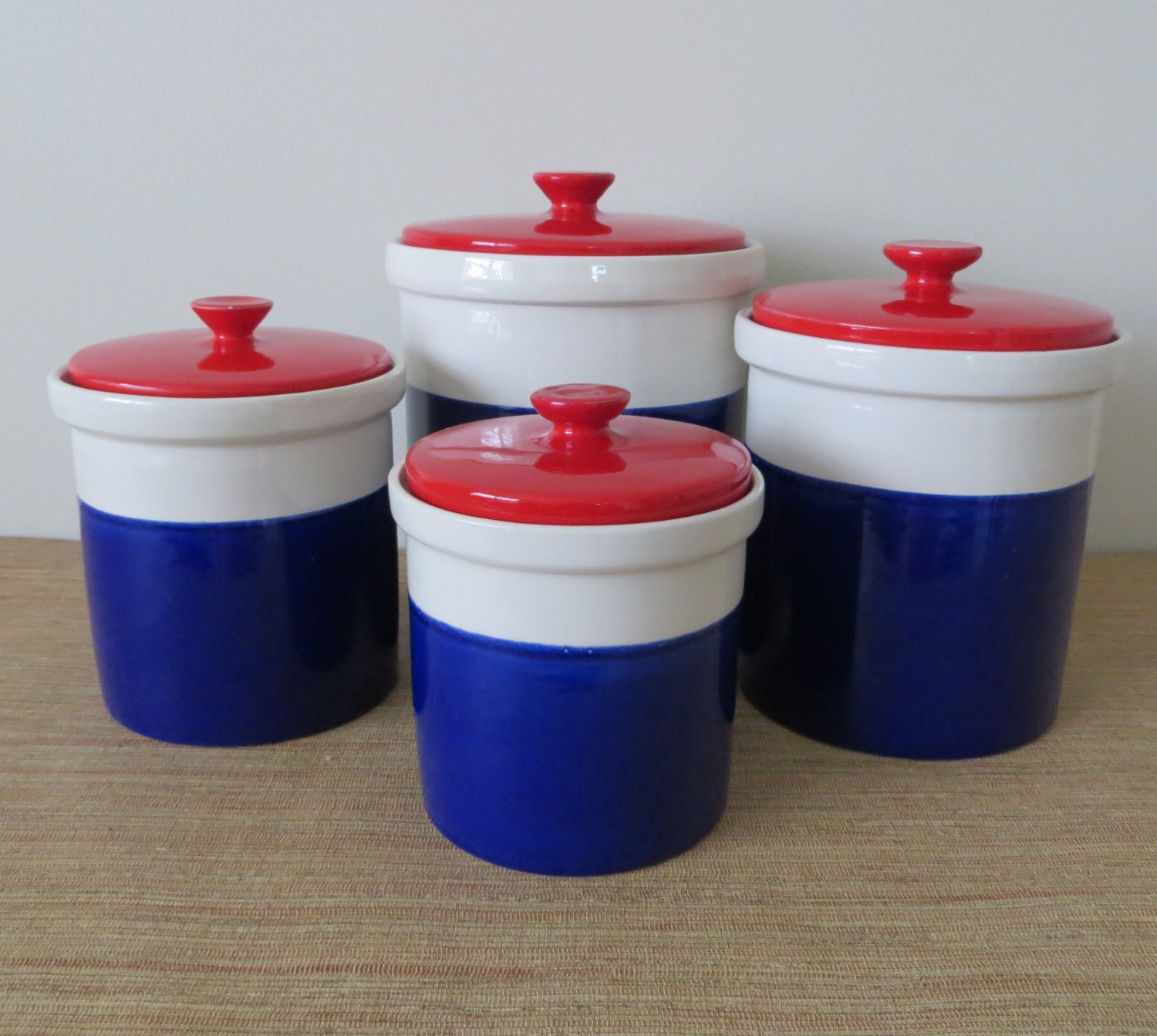 Kitchen Canisters Ceramic Sets: Vintage Ceramic Four Piece Canister Set Red By SoulfulVintage