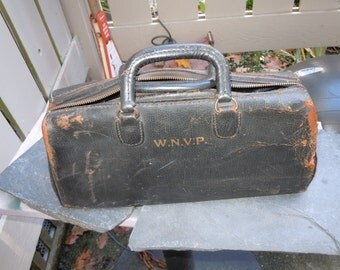 Antique Cowhide Black leather Doctors Bag