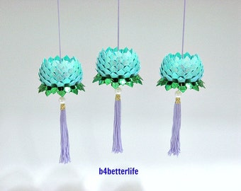 3pcs Small size Light Blue Color Orgami Hanging Lotus. (TX Paper Series).