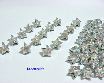 70pcs Big Size SILVER Color Origami Lucky Stars. (4D Glittering Paper Series). #FOS-24.