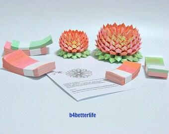 464 sheets of Orange Color Papers Kit For Making 4pcs of Origami Lotus In 2 Different Sizes. (AV paper series). #AV464-9.