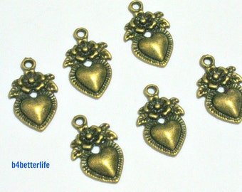 "Lot of 24pcs Antique Bronze Tone ""Heart And Rose"" Metal Charms. #BC2637."