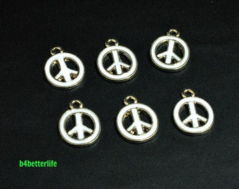 """Lot of 24pcs """"PEACE Sign"""" Gold Color Plated White Enameled Metal Charms. #HY3002."""