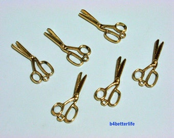 "Lot of 24pcs Double Sided ""Gold Scissor"" Gold Color Plated Metal Charms. #XX308."
