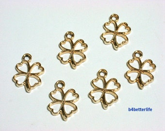 "Lot of 24pcs ""4 Leaf Clover"" Gold Color Plated Metal Charms. #XX226."