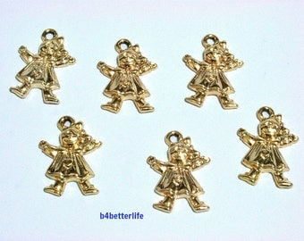 "LOt of 24pcs ""Charming Little Girl"" Gold Color Plated Metal Charms. #XX362w."