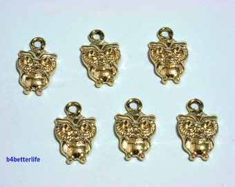 "Lot of 24pcs ""Owl"" Gold Color Plated Metal Charms. #XX361."
