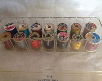 10% off SALE Vintage Thread Box with 14 misc spools of Thread Tidee Maid Deluxe/ Craft/ DIY