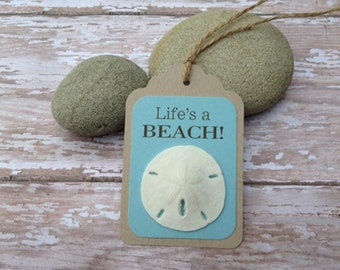 Sand dollar Gift Tags, Set of 4 Beach Sentiments Assortment Gift Tags, Beach Favor Tags