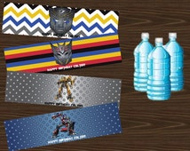 Transformers Inspired Water Bottle Labels or Cupcake wrappers