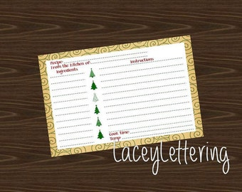 Editable Christmas Recipe Card Instant Download DIY Cookie Exchange