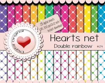 Sale-28 Digital papers -Hearts net pattern - 12x12 inches  (300 ppi) -JPG format. Freebies Minimum price allowed by Etsy