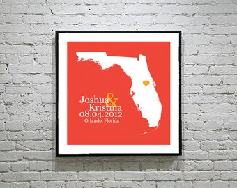 Florida Wedding Gift Custom State Map Personalized Couple Art Personalized Florida Map State Map Art Personalized