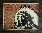 Red Cloud - Ghost Of The Great Chief Mixed Media Outsider Folk Pop Painting #429 by J-man art