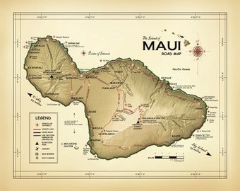 """The Island of Maui """"Vintage Inspired"""" Road map"""