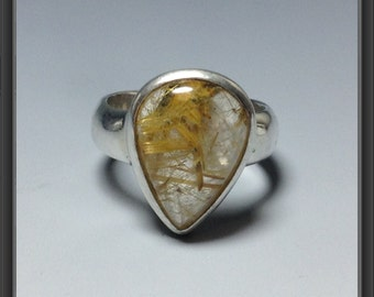Ring size US 6.75 with rutilated quartz