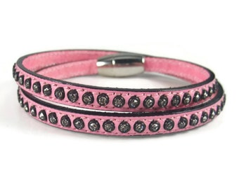 Pink Leather Bracelet, Studded Cuff Bracelet, Womens Bracelet, Rhinestone Leather Jewelry, Womens Jewelry, Womens Leather Wrap Bracelet