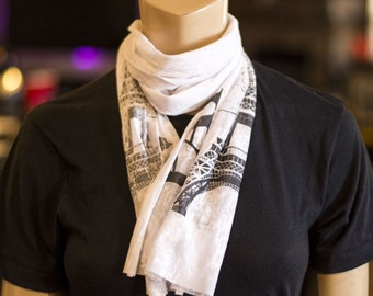 Paris Scarf - Quote Prints - Knit Jersey Raw Edged Scarf - Paris