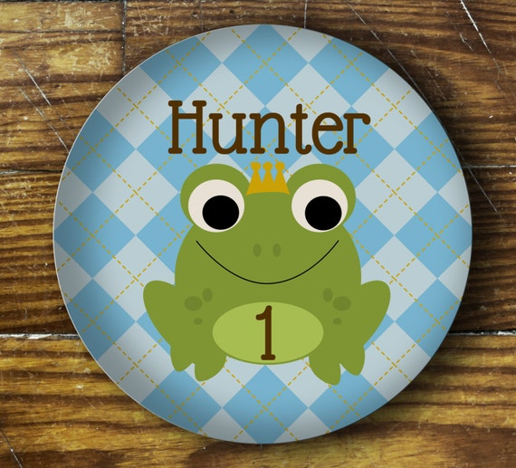 Personalized Dinner Plate or Bowl - Frog