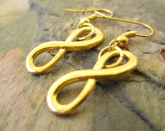 Gold Tone Infinity Knot Artisan Handcrafted Earrings