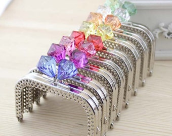 1 PCS, 10cm / 4 inch Squared Transparent Solid Faux Diamond Beaded Silver Kiss Clasp Lock Purse Frame, C19