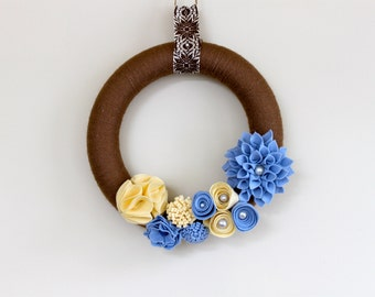 12 Inch Spring Brown - Blue -Cream - Felt Flowers - Ready to Ship