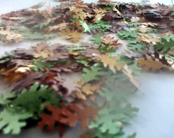 Mini Oak Leaf Confetti in Green Gold Orange and Brown Perfect for Fall Parties and Events