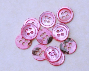 Pink Mother of Pearl Buttons. Set of 12. 18L#17/4H