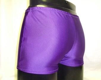 Mens Lycra Low Rise Hotpants/Shorts L Large 34-38 inch Purple Spandex Club/Dance/Festival/Swim Theatre Stretch Sports Gym