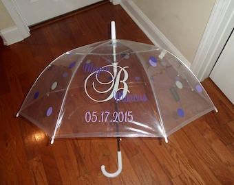 Couples wedding date umbrella - done in up to 3 colors