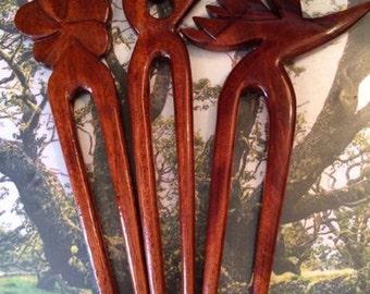 Koa wood hair picks
