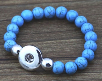 Turquoise Stone Elastic NOOSA Style Bracelet  for Snap It/Chunk Charms/Ging@r
