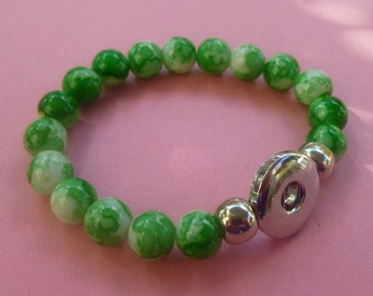 Clearance ~ Green Swirl Stretch Bracelet for Snap It Chunk Charms
